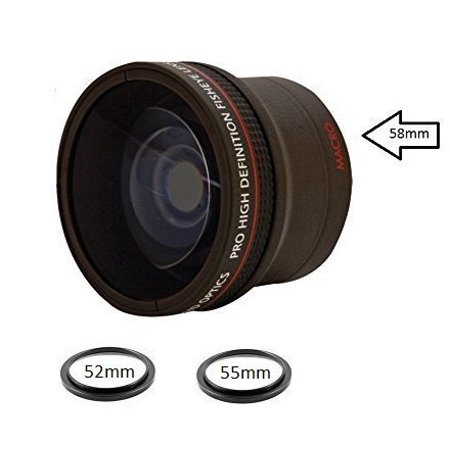 0.18X Ultra-Wide Fisheye Converter Lens w/ Macro Close-Up Attachment For Canon, Carl Zeiss, Fujifilm, Nikon, Panasonic, Pentax, Olympus, Samsung, Sigma, Sony, Tamron, Tokina (Tokina 10 17mm Fisheye Lens For Canon)
