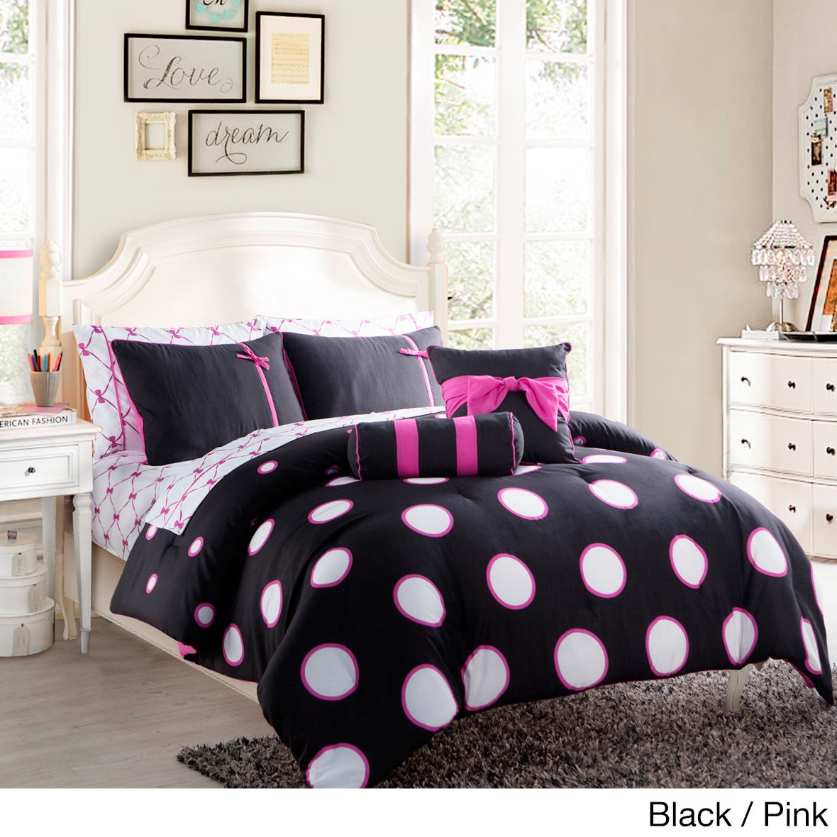 Black and pink bed sheets - Vcny Sophie Contemporary 10 Piece Bed In A Bag With Sheet Set Walmart Com