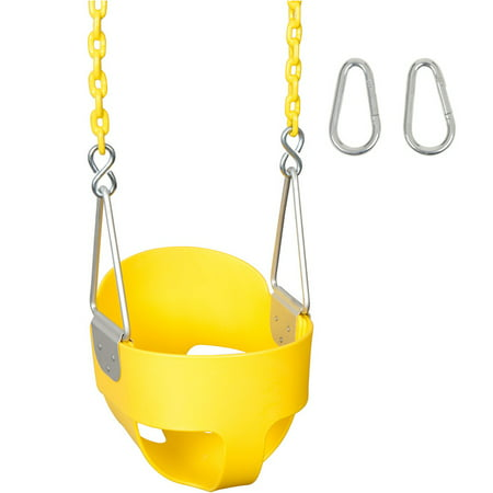 Swing Set Stuff Inc. Highback Full Bucket with 5.5 Ft. Coated Chains (Yellow)