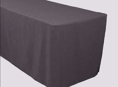 5 Feet Tablecloth Charcoal Grey Fitted Tablecloth Polyester Table Cover  Trade Show Banquet Charcoal Gray,