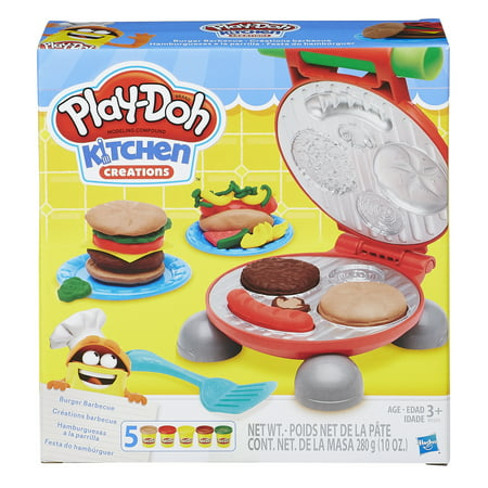 Play-Doh Kitchen Creations Burger Barbecue Food Set with 5 Cans of Dough (Playdough Mats Halloween)