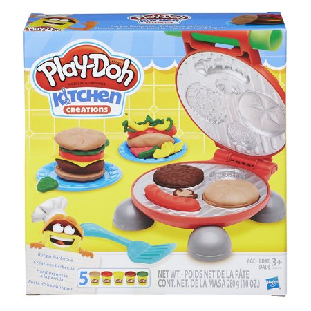 Playdough Sets (Play-Doh Kitchen Creations Burger Barbecue Food Set with 5 Cans of)
