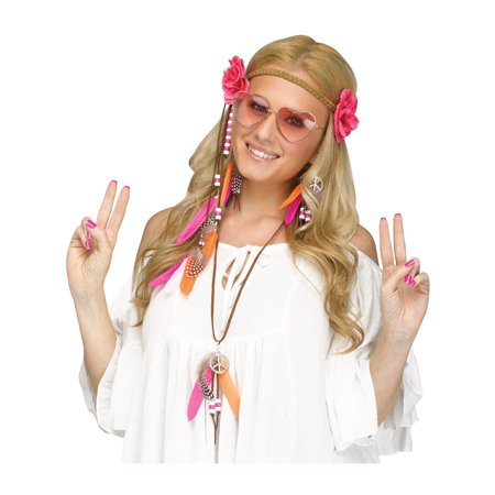 Adult's Womens Instant 60s Love Child Hippie Costume Accessory - Pink Hippie Costume