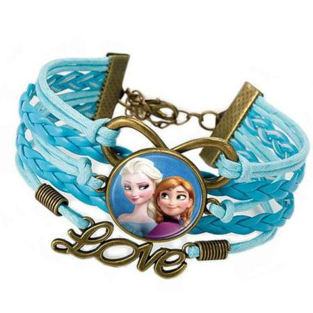 Elsa Anna Frozen Braided Blue and Bronze Tarnish Resistant Girls Jewelry, FZB-3](Frozen Jewelry)