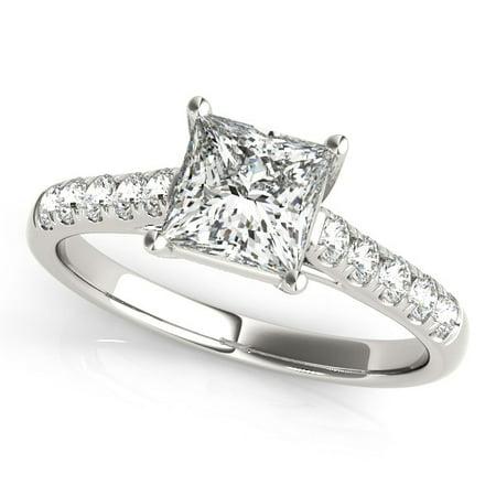 14K White Gold Trellis Set Princess Cut Diamond Engagement Ring (1 1/4 ct. tw.) Size - -