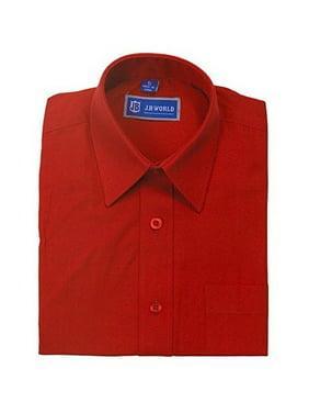 JB World Boys Red Long Sleeve No Button Collar Uniform Dress Shirt