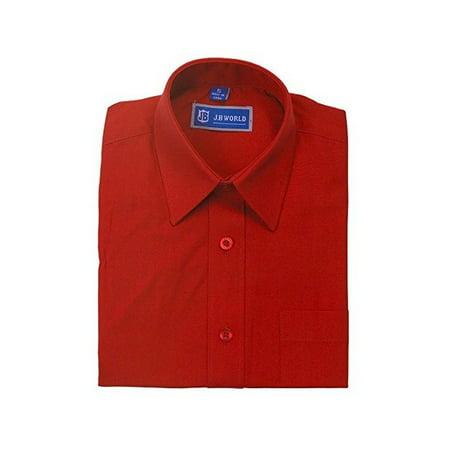 JB World Boys Red Long Sleeve No Button Collar Uniform Dress - Boys Red Dress Shirt