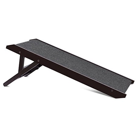 """Internet's Best Adjustable Pet Ramp   Decorative Wooden Folding Dog Ramp for Couch Bed Car   35"""" Long   Soft Paw Friendly Grip Carpet   Height 12-16 Inch   (Best Pet Ramp For Suv)"""