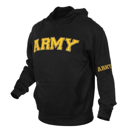 - Army Hooded Pullover Embroidered Sweatshirt, Black Hoodie, L