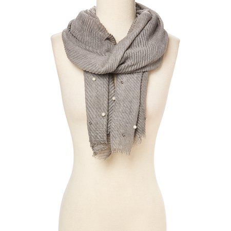 Gray Lightweight Beaded Scarfs for Women Summer Fall Fashion Accessory Comfy and Warm Neck Scarves for Winter Casual Style Scarf for Ladies Girls Gift Ideas Online by Oussum