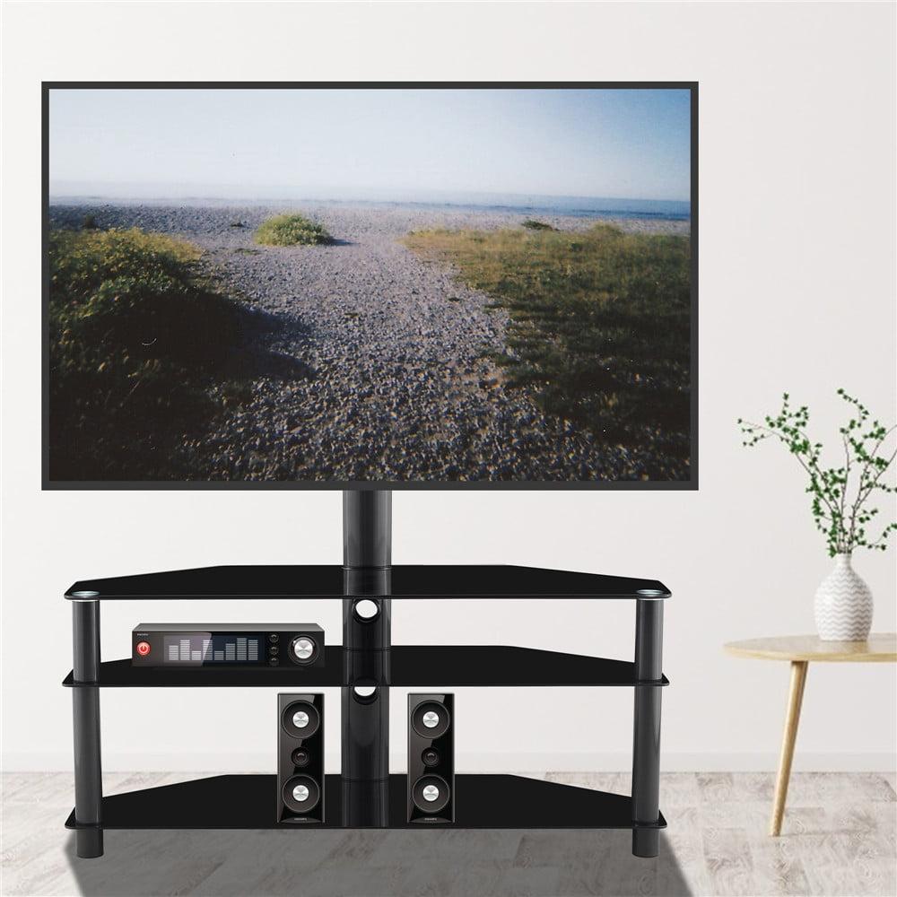 Ubesgoo Floor Tv Stand With Mount For 32 65 Screens Swivel 30 Bracket 3 Tier Tempered Glass Shelves Walmart Com Walmart Com