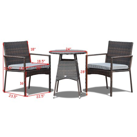 Costway 3pcs Patio Furniture Set Outdoor Bistro Rattan Wicker Cushioned Seat - image 2 de 10
