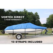 VORTEX HEAVY DUTY 24 FT *BLUE* VHULL FISH SKI RUNABOUT COVER FOR 22' TO 23' TO 24' FT FOOT BOAT, BEST AVAILABLE COVER (FAST SHIPPING - 1 TO 4 BUSINESS DAY DELIVERY)