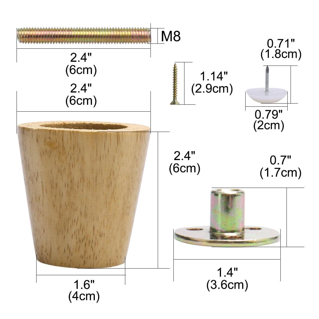 "2.4"" Round Solid Wood Furniture Leg Sofa Desk Feet Adjuster Replacement Set of 4 - image 6 de 7"