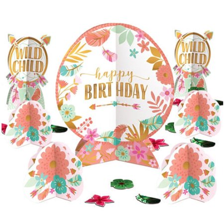 1st Birthday 'Boho Girl' Table Decorating Kit (27pc)](1st Birthday Girl Party Supplies)
