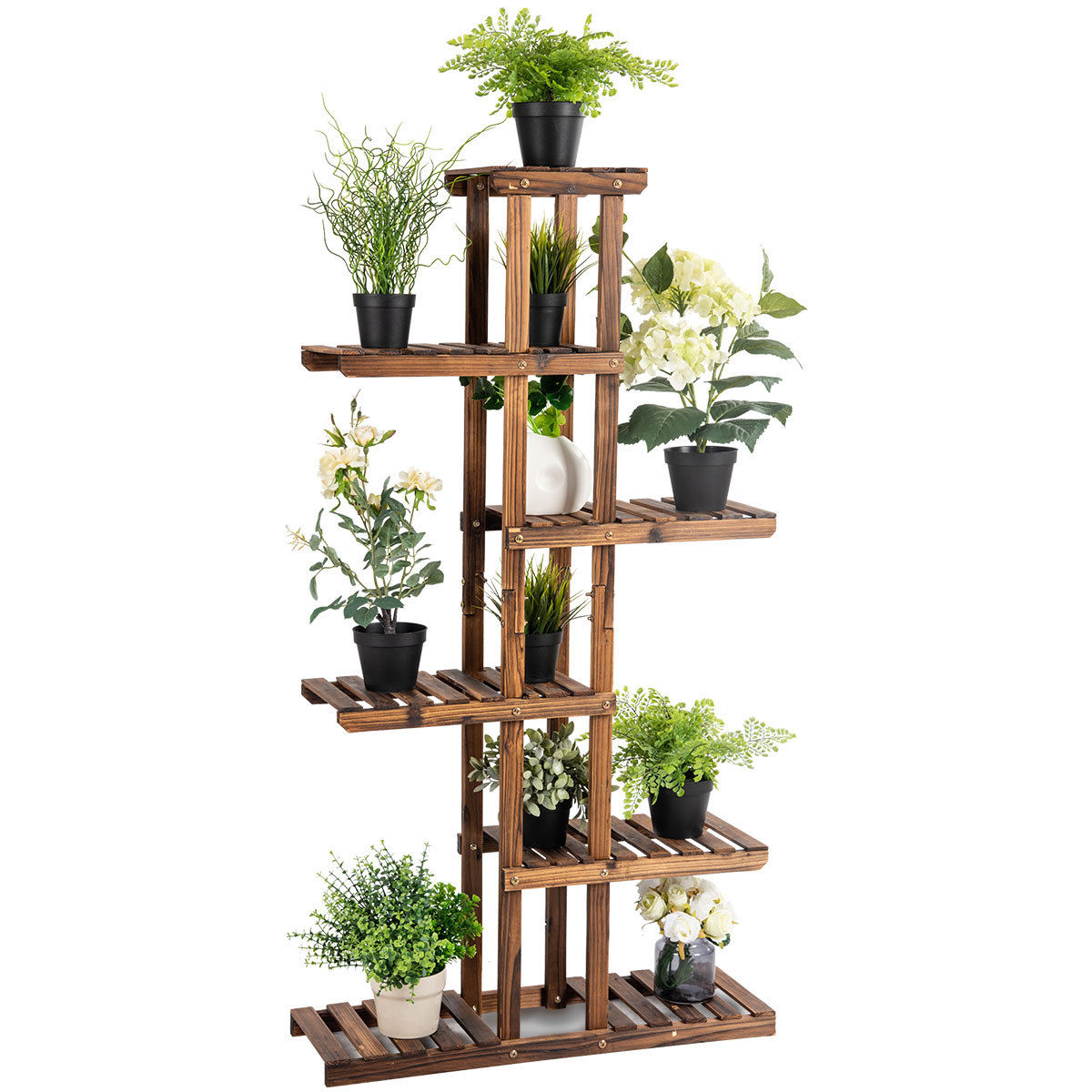 Costway 6 Tier 11 Pots Wooden Plant Flower Display Stand Wood Shelf Storage Rack Garden