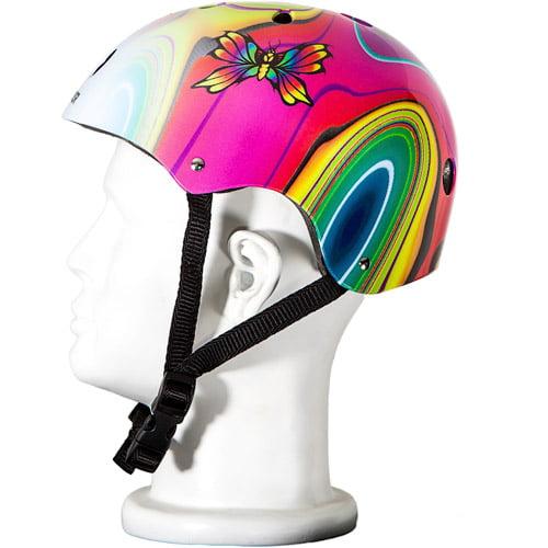 Punisher Skateboards Butterfly Jive Pink and White Adjustable All-Sport Skate-Style Helmet, Medium
