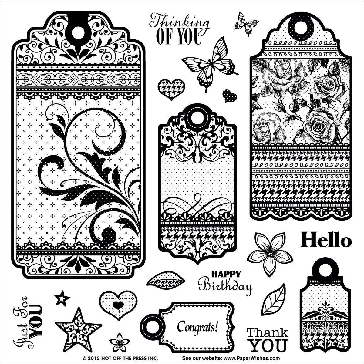 Hot Off The Press Acrylic Stamps 8 Inch X 8 Inch Sheet-Tags & Trim