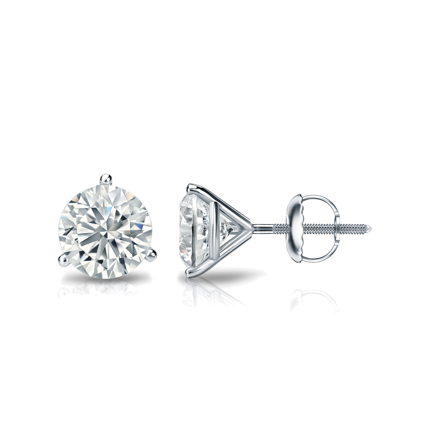 Platinum 4-Prong Basket Round Diamond SINGLE STUD Earring 1//8 cttw J-K, I1-I2