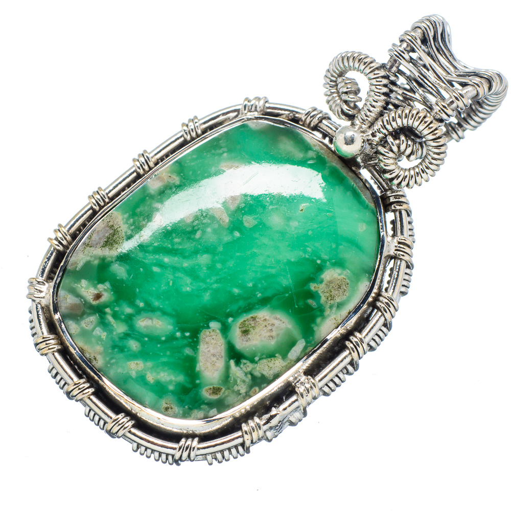 "Ana Silver Co Chrysoprase 925 Sterling Silver Pendant 1 3 4"" PD598835 by Ana Silver Co."