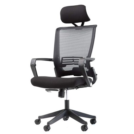 - OFFICE FACTOR Mesh Back Office Chair with Headrest- Folding Office Chair- Ergonomic Chair for Office & Home- Task/Executive/Office Chair with Wheels- Quick Assemble Office Furniture Rated 250 Lbs