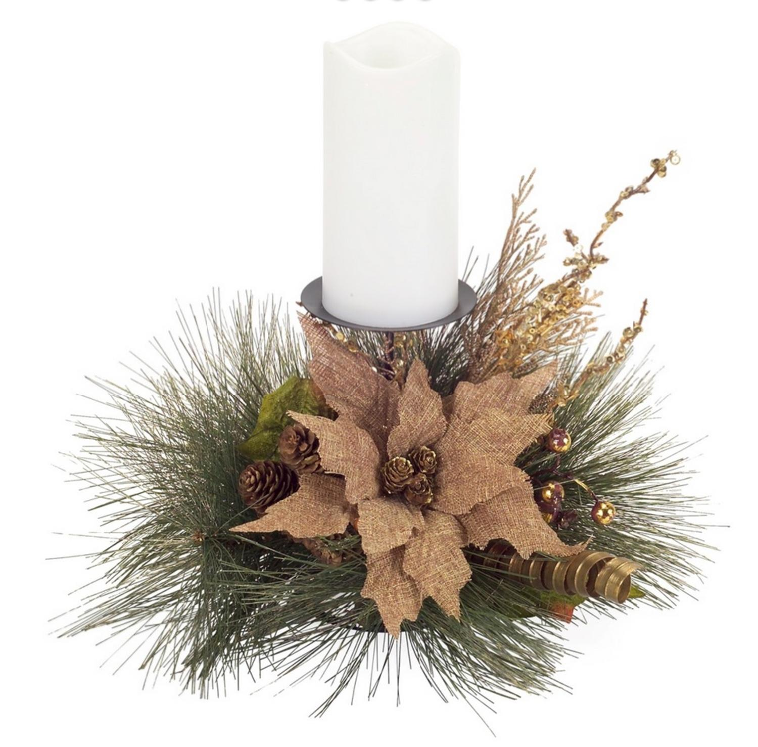 "Melrose 19"" Burlap Poinsettia, Pine Cone and Berry Artificial Christmas Candle Holder - Gold"