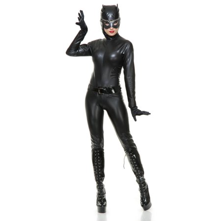 Womens  Wet Look  Black Catsuit With Hood Adults Costume - Lion Catsuit