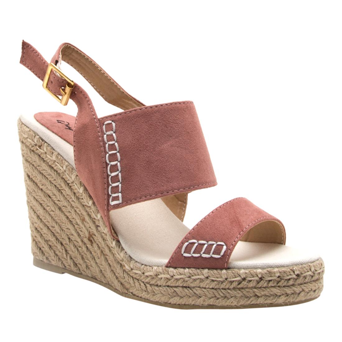2c2dbe1203b QUPID FG61 Women's Slingback Stitched Espadrille Platform Wedge Sandals