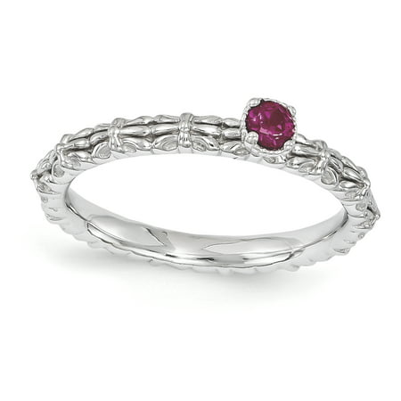 Sterling Silver Stackable Expressions Created Ruby Single Stone Ring Size 8 - image 3 de 3