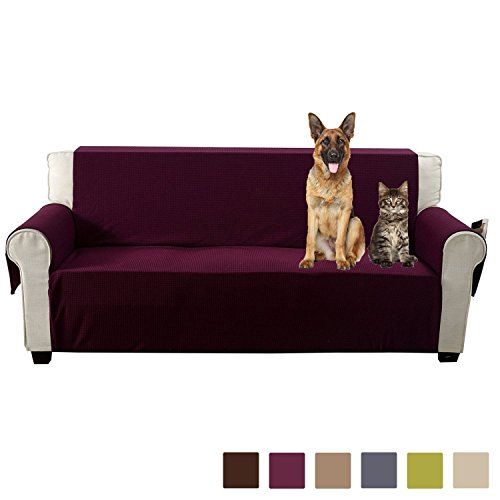 Aidear Anti-Slip Sofa Slipcovers Jacquard Fabric Pet Dog Couch Covers Protectors (Sofa, Burgundy) by LIVEDITOR LIGHTING