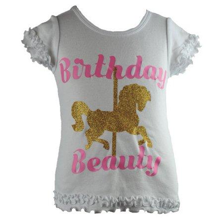 Reflectionz Baby Girls White Birthday Beauty Carousel Unicorn Shirt