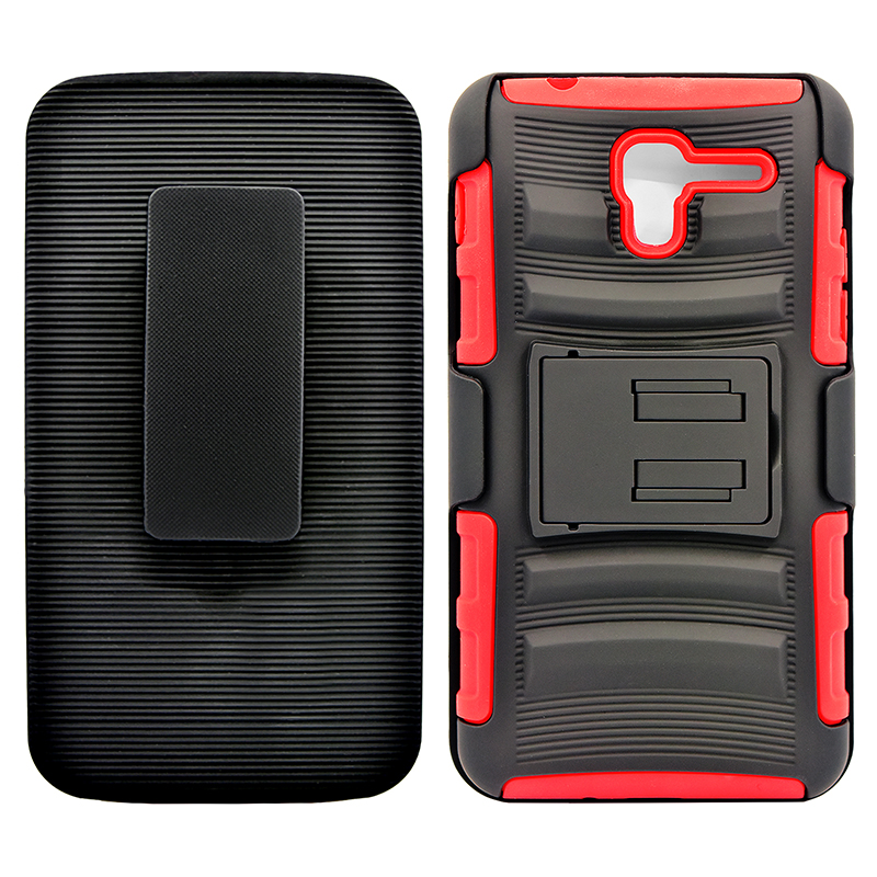 Kyocera Hydro Reach / C6743 Armor Belt Clip Holster Case Cover Red