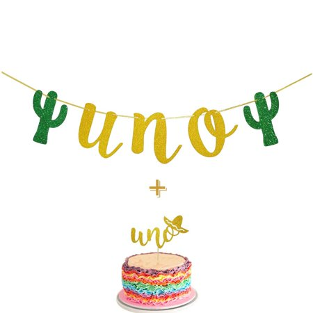 Fiesta First Birthday Smash Cake Kit Gold Glitter UNO Highchair Banner with UNO Cake Topper For Fiesta Cactus Taco Party Supplies - Fiesta Cake Supplies
