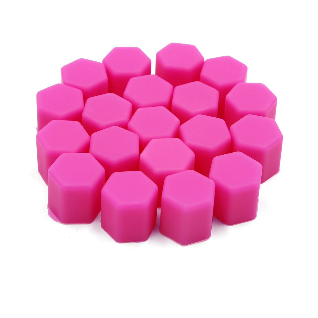 20pcs 15mm Rubber Car Wheel Tire Tyre Nut Screw Cover Caps Hub Protector Pink