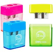 Deli Manual Pencil Sharpener with Lid, Pencil Sharpener Handheld, 2 Holes for Standard and Jumbo Pencils, Perfect for Kids, Assorted Colors, 3 Pack