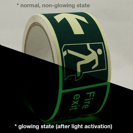 JVCC GLW-S Glow in the Dark Signaling Tape: 2 in. x 16.4 ft. (Left Arrow Fire Exit Luminescent Lime Green) ()