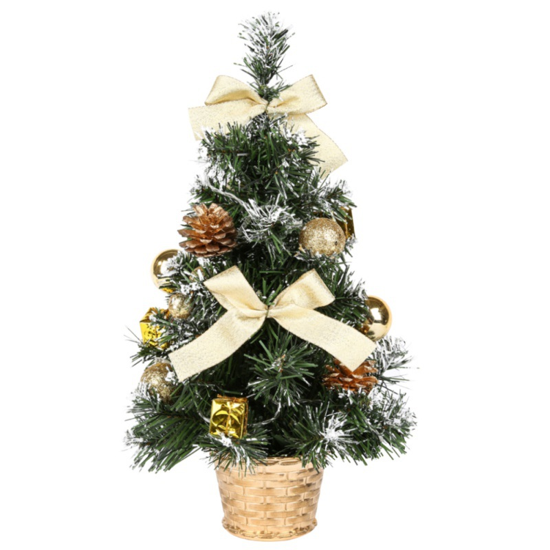 ANYSALE Silver 40CM Tall Battery Powered Luxury Tabletop Christmas Tree Hanging Decorations Pine Tree (Battery Not Included)