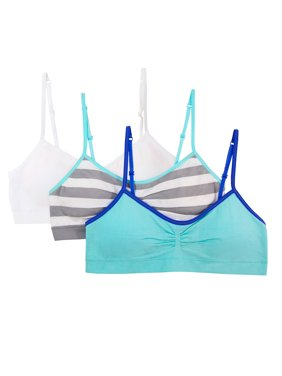 Fruit of the Loom Girls Seamless Bra with Removable Pads, 3 Pack (Little Girls & Big Girls)