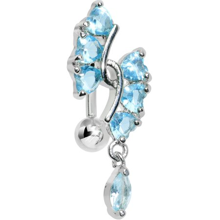 Brilliant Blue Hearts and Dangling Drop Top Mount Belly Ring (Double Drop Belly Ring)