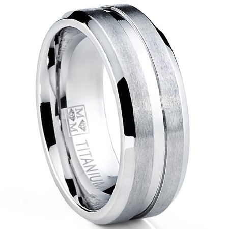 Men's Grooved Titanium Ring, Wedding Engagement Band, 8MM Comfort Fit Sizes 7 to 13 - Grooved 8 Mm Band