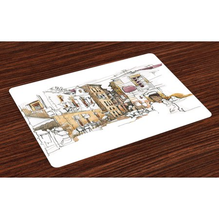 Modern Placemats Set of 4 Painting Artistic Sketchy like Design with Street View Houses Wires Artwork Print, Washable Fabric Place Mats for Dining Room Kitchen Table Decor,Multicolor, by (4 Wire Oven To 3 Wire House)