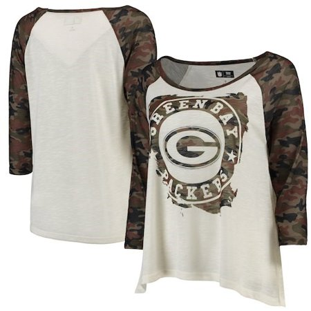 6d9070c1 Green Bay Packers G-III 4Her by Carl Banks Women's Field Goal Raglan  3/4-Sleeve T-Shirt - White/Camo
