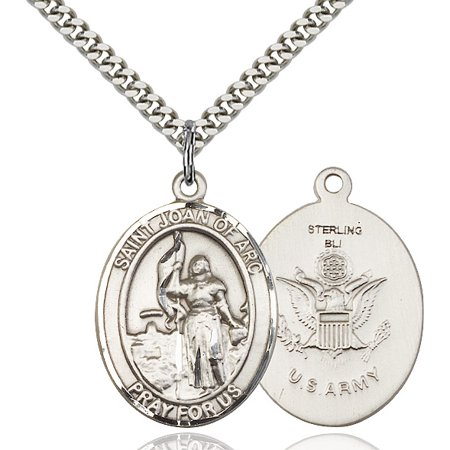 Joan Jewelry (Sterling Silver St. Joan of Arc / Army Pendant 1 x 3/4 inches with Heavy Curb)