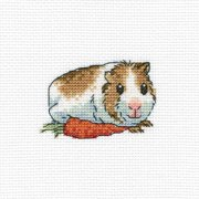 "Cavy With Carrot Counted Cross Stitch Kit-4""X4"" 14 Count"