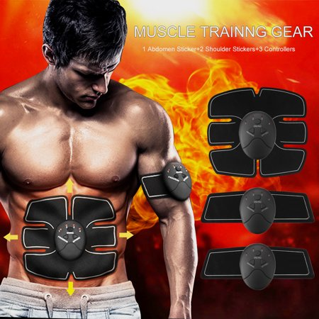 Grtxinshu 6Pcs/set ABS Stimulator, Abdominal Muscle Trainer Body Fit Home Exercise Shape Fitness Workout 3Pcs Pads & 3