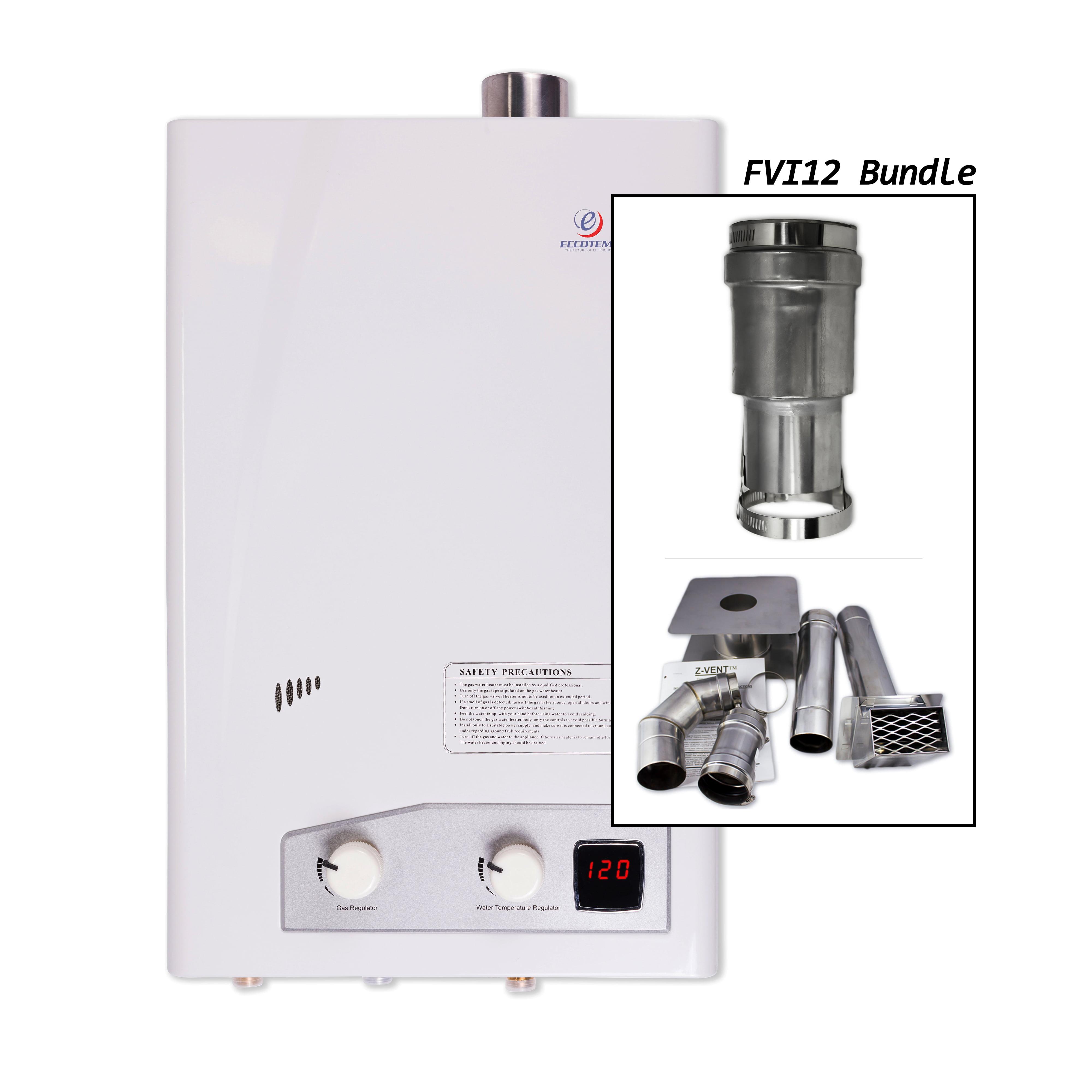 Eccotemp FVI12- Liquid Propane Tankless Water Heater with Horizontal Vent Kit