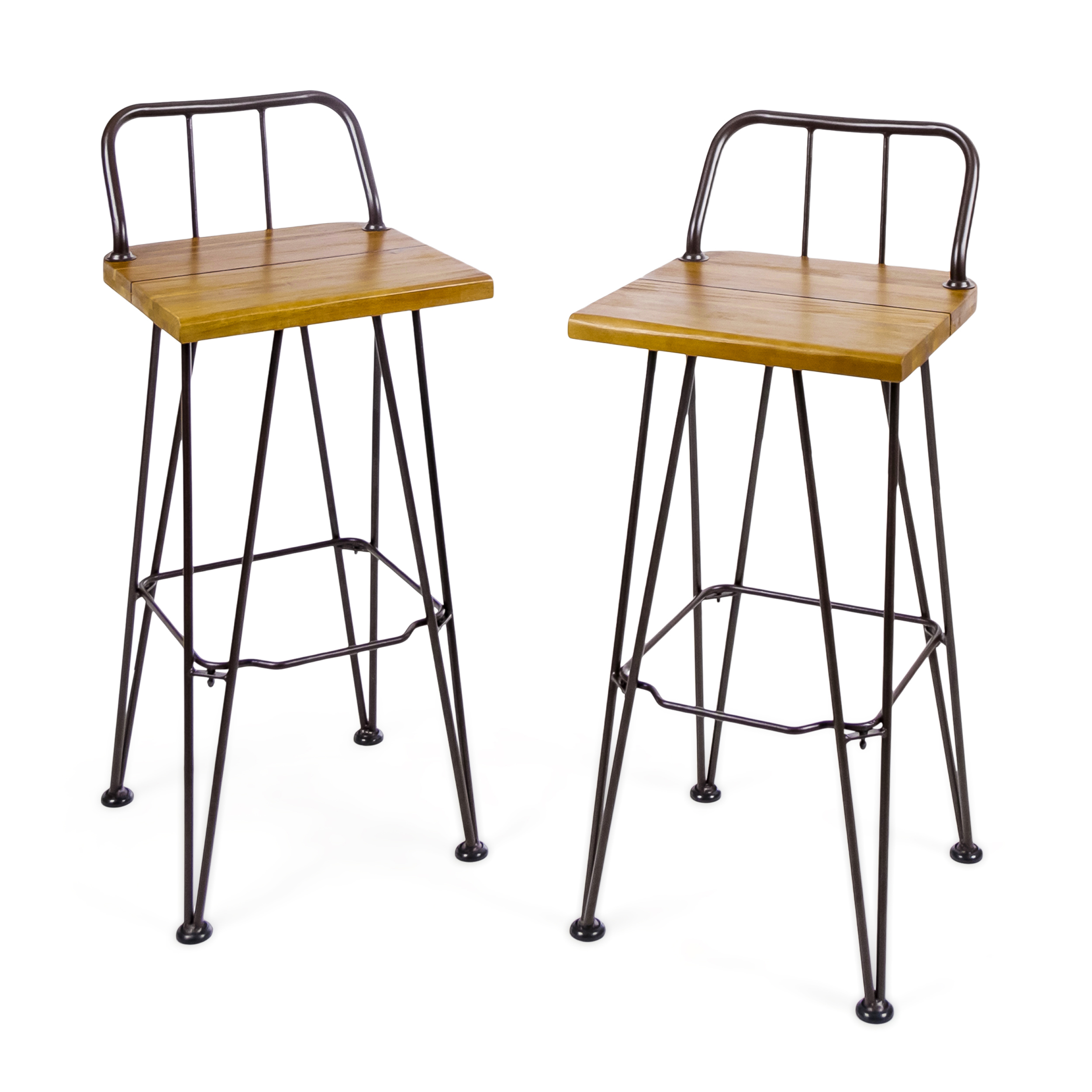 Leonardo Outdoor Industrial Acacia Wood Barstools with Iron Frame, Set of 2, Teak and Rustic Metal