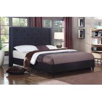 Best Master Furniture Veronica Tufted Wingback Platform Bed Black, Queen