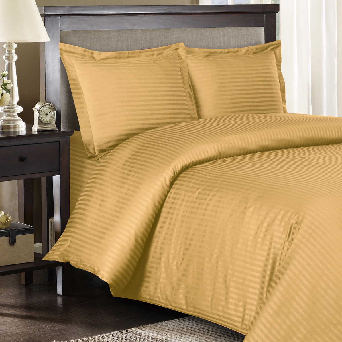 600 Thread Count Duvet Cover Set 100% Cotton Sateen Damask Striped - Full/Queen - White