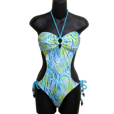 Joe Boxer Juniors Womens Tropical Blue & Green Monokini Swim Suit Swimming S](Juniors Monokini)